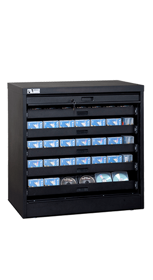 36 Inch High Secure Media Storage Cabinet With Disc Roll Out Drawers