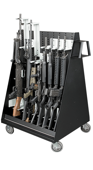 Double-Sided Weapon Storage Mobile Cart With Components And Weapons
